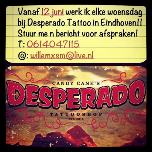 Contact me for appointments!! #tattoo #eindhoven #desperado #willemxsm