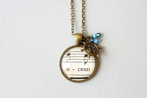 (via Nautical ocean necklace Sheet music pendant with by GildedNotes)