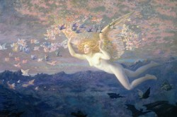 fuckyeahpreraphaelites:  On the Wings of the Morning, Edward Robert Hughes