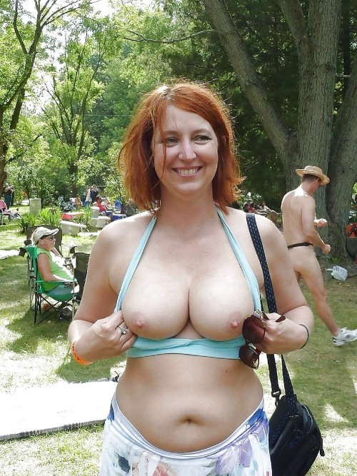 Mature women flashing big tits outdoors