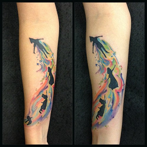 fuckyeahtattoos:  After many years browsing around #fyeahtattoos I can finally post my own, I love Peter Pan, for me it represents the first ride I ever rode in Disneyland, my passion for London and of course the never wanting to grow up. The colors are part of how I see the world, always colorful and hopeful. This was done at @barberiatattoo by @octaviotattoo in Caracas, Venezuela.