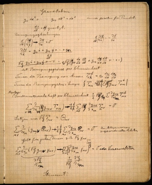 a page from Einstein's notebooks