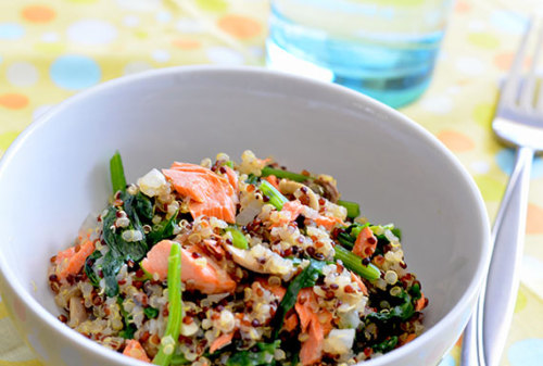 How about Gluten Free Quinoa Pilaf with Salmon, Spinach and Mushrooms for dinner tonight? RECIPE