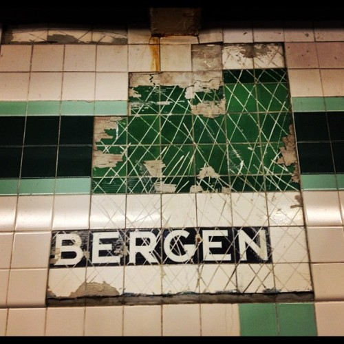 Water damage to tile at Cobble Hill subway station reveals older generation of signage. #urbanarchaeology #subway #nyc #brooklyn