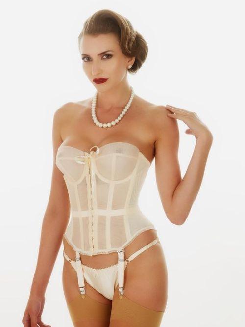 theteasingteacher:Ivory corset and panties with tan stockings http://www.pinterest.com/pin/285415695109835932/