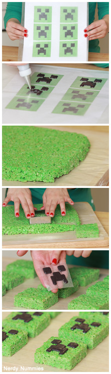 rosannapansino:  How to make Minecraft Rice Krispy Treats! SSSSSSS