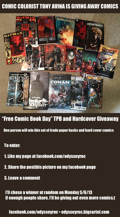I'm giving away a bunch of trade paper backs and hardcovers, on my Facebook Fan Page. Come on over, like my page, share and comment for a chance to win all of these comics.