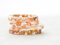 etsygoodies:  (via Resin Stacking Ring Yellow Pink Gold Flakes Thin by daimblond)