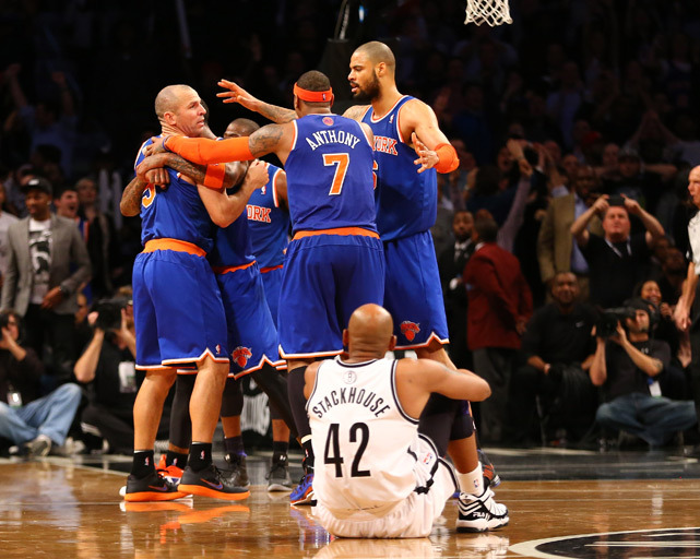 The Knicks celebrate with Jason Kidd after he converts the winning three-pointer against the Nets to win 100-97 in Brooklyn on Tuesday. The Knicks improved to 16-5 and are in first place in the Atlantic Division. (Al Bello/Getty Images) MANNIX: Knicks show no sign of slowing down