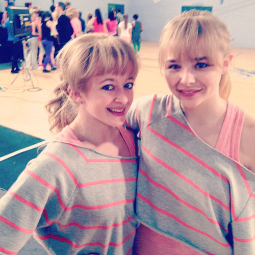 Chloe Moretz and her stunt double on the set of Kick-Ass 2