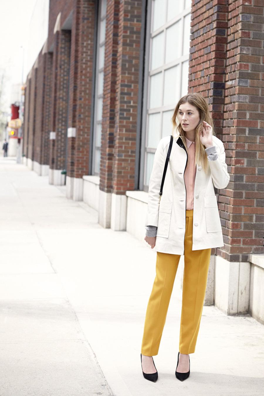 August - Look 3    Cierra Jacket, Denise Shirt, Men's Cotton-Cashmere Cardigan, Betia Pant, Freja Cross-Body Bag, April Pump