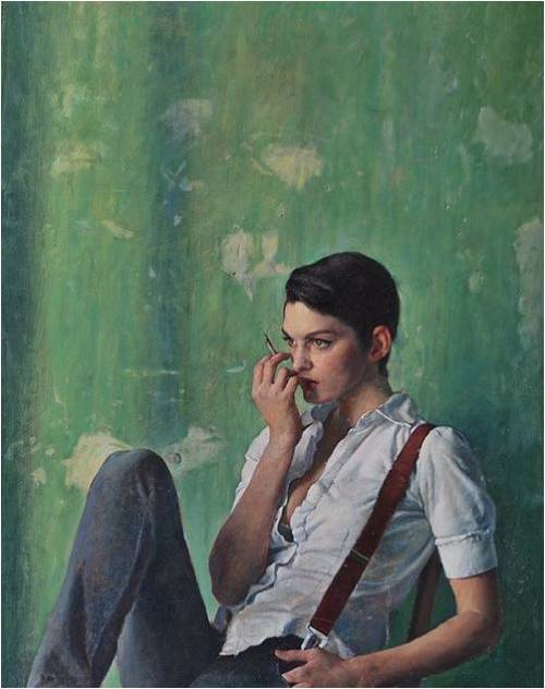 anthropologie:   Olivia Sitting by artist Alex Russell Flint.