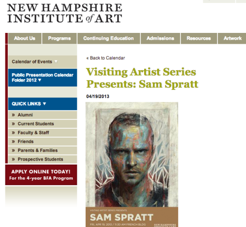 If you live in New Hampshire or make a habit of road-tripping for art lectures, I'll be giving one this Friday at the New Hampshire Institute of Art. It'll be a brisk 40 minutes of artsy goodness followed by a Q&A. Bonus: I'll be sharing a process painting video that I've never shared online. I will also be giving the same lecture tomorrow in front of my bathroom mirror, but that one is VIP only.