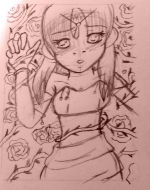 "ACEO Card draft ""Ein Bett aus Rosen"" (a bed of roses)"