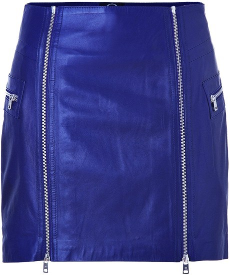 Cobalt blue leather zip detailed miniskirt by McQ By Alexander McQueen | via