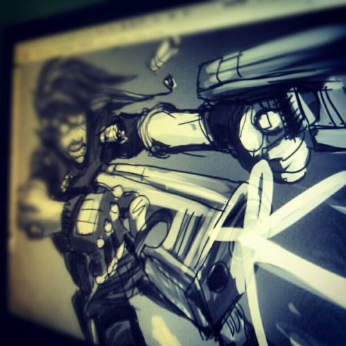 monstrbox:  Gunz Blazing #wip #illustration #sketch #artwork