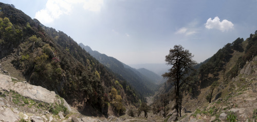The Bhubu Pass. Nine and half thousand feet above sea level. This Himalayan pass goes into the Kangra Valley and was an ancient trade route before the modern roads were built. Looking west.