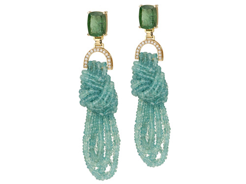 Blue Green Tourmalines, Apatite Strings and Diamond 18k Earrings