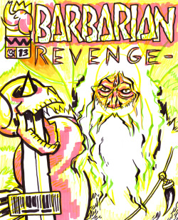 "Barbarian Revenge, the comic that exists in Brandon Graham's comic ""Multiple Warheads"" — marker commission hella looks like alan moore  edit: oops i forgot to sign it ¯\_(ツ)_/¯"