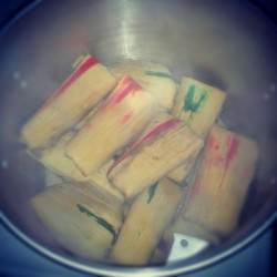 Tamale test batch with @juniorspacecadet for friday's show at hidden temple! #vegan?