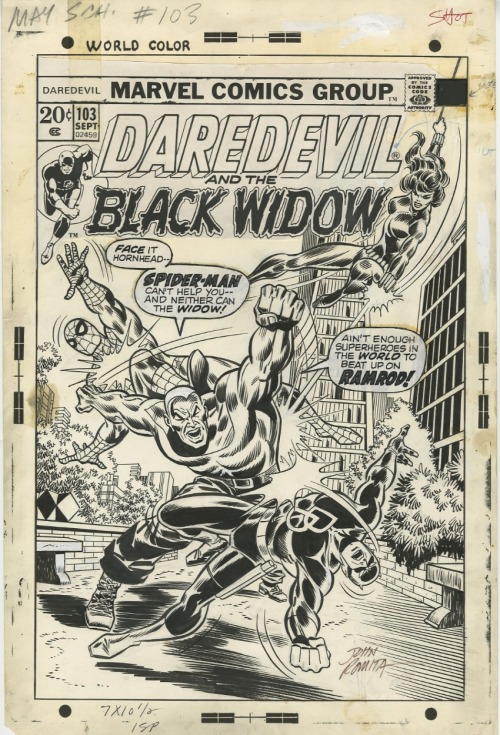 The cover to DAREDEVIL #103 by Don Heck and John Romita