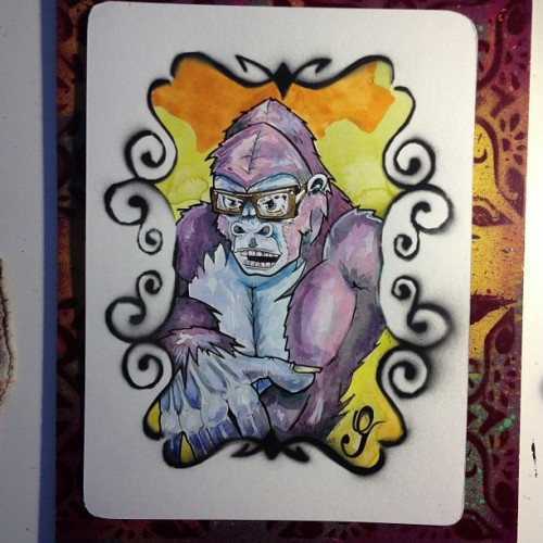 G is for Gorilla with Glasses.  By Donovan Clark #csa #aai #gorilla #watercolor #art #painting #glasses