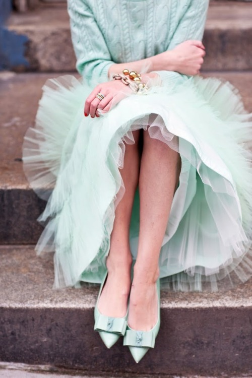 photographer: Lydia Hudgens   Skirt: BHLDN. Sweater: J.Crew. Mint Rings: Coach. Bracelets: J.Crew. Shoes: J.Crew (old).   Atlantic-Pacific: merry mint // sisternebraska:modcloth