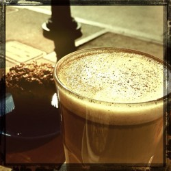 Coffee talk with Erica. Mexican latte. #withcafesito (at Buster's Ice Cream & Coffee Shop)