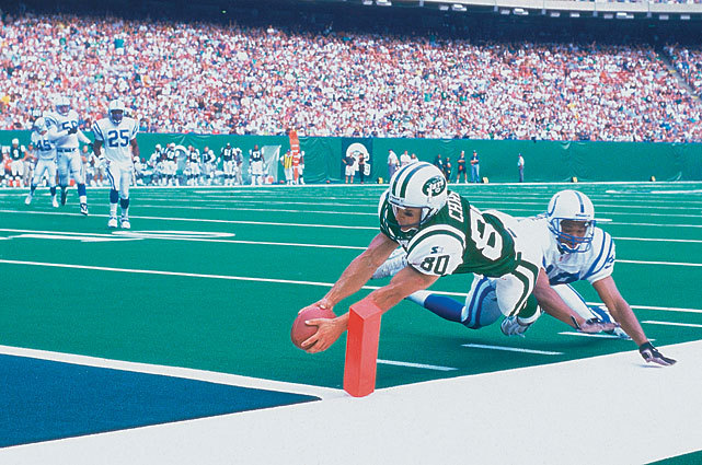 Wayne Chrebet dives for the endzone during a 1998 Colts-Jets game. (Damian Strohmeyer/SI) GALLERY: Classic Photos of the New York Jets