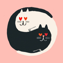robhodgson:  Rob Hodgson, Yin Yang Cats, unpublished valentines design © Urban Graphic