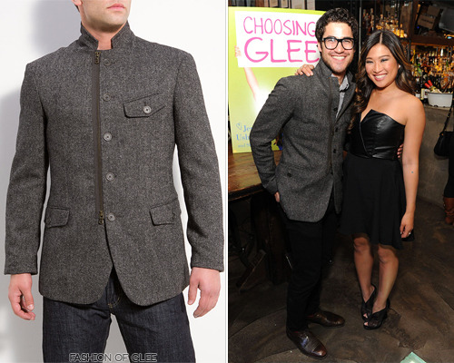 Darren Criss and Jenna Ushkowitz appear at the Choosing Glee release party, New York City, May 14, 2013 We can't for the life of us figure what Darren has done to the pocket flaps on his jacket - has he tucked them in? That aside, all other details match this beautiful John Varvatos jacket, also worn by his on-screen brother, Cooper Anderson. John Varvatos Convertible Zip Front Jacket - $199.99 (on sale!, olive) Worn with: Dolce & Gabbana glasses, Topman shirt
