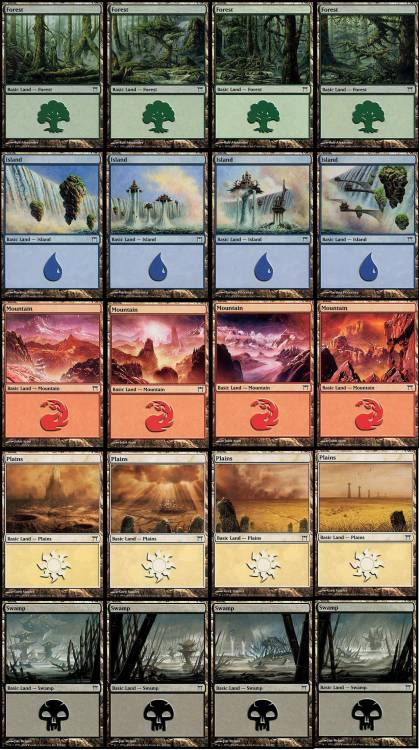 theartofmagic:  Kamigawa basic lands panorama.