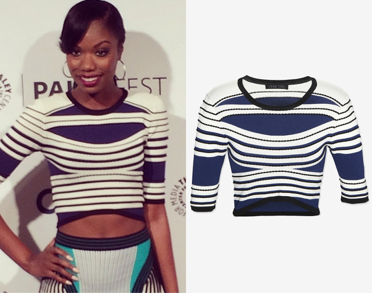 Xosha Roquemore attends The Softnet Project panel at PaleyFest 2014 Ohne Titel Striped Curved Hem Crop Top - $250 (also here, here and here) Worn with Ohne Titel skirt