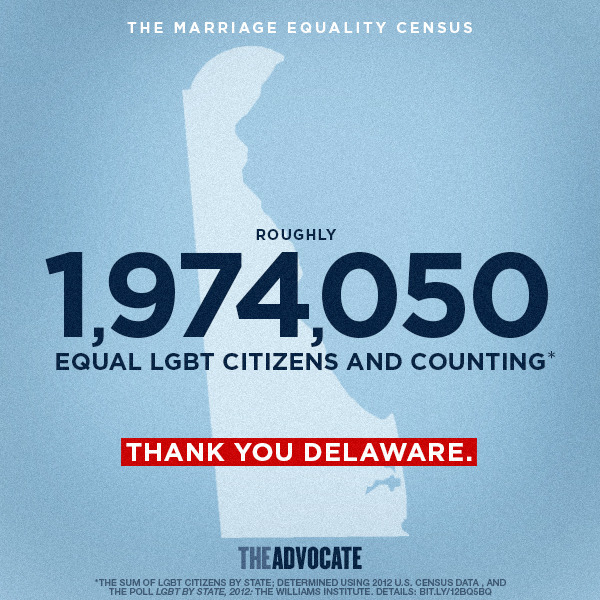 Delaware became the 11th state to join the forces of marriage equality on Tuesday. With this momentous week for the equal rights movement, we decided to begin a Marriage Equality Census, keeping an estimated count of the number of self-identified LGBT citizens that can legally get married in their home state. See the number in the graphic above. Here's how we got to this grand number: We pulled 2012 U.S. Census Bureau data of the population for each state that has full marriage equality (not civil unions). Then we combined it with information gathered by a 2012 Gallup poll in conjunction with the Williams Institute at UCLA, which identified the percent of self-identified LGBT people in each of those states. See the table below for the numbers. Which state will be next? —Scott McPherson