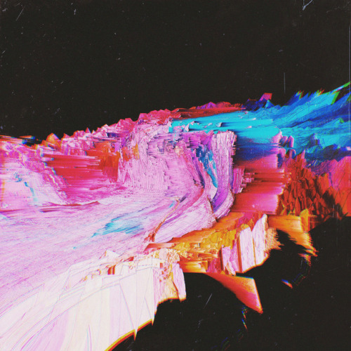 lesstalkmoreillustration:  Abstract Glitch Landscape Art Prints By Aertime   *More Things & Stuff