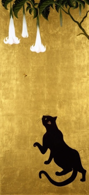 japaneseaesthetics:  Cat and Wasp. By Muramasa Kudo, Japan. 24K Gold Leaf & acrylic on canvas.
