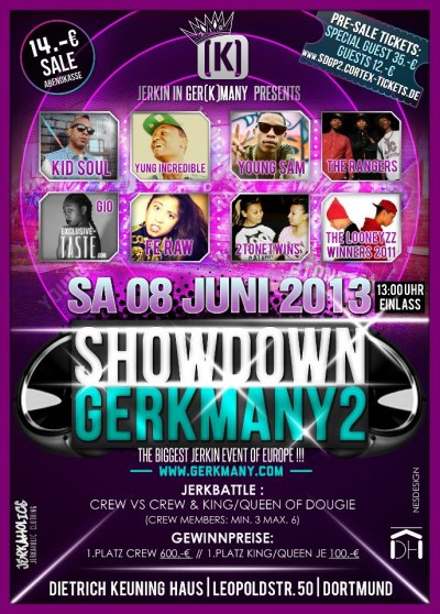 The Official Showdown Ger(K)many Part 2 Flyer, June 8th fet: The Rangers, Young Sam, Yung Incredible, Fe Raw, Two Tone Twins, Kid-Soul of Breakfast Club and the Looneyzz