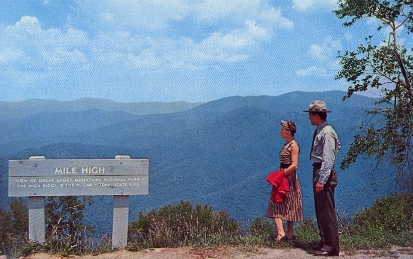 bad-postcards:  MILE HIGH OVERLOOK   MILE HIGH OVERLOOKBlue Ridge Parkway, North Carolina Mile High Overlook, on the Blue Ridge Parkway, four miles form Soco Gap, affords spectacular views of the Great Smoky Mountains in Great Smoky Mountains National Park.