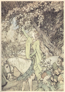tisket-a-tasket:  Arthur Rackham's illustration of Guinevere for The Romance of King Arthur and His Knights of the Round Table, 1917