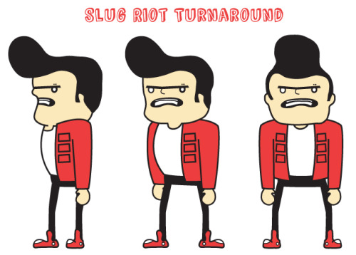 Working on a character design. Slug Riot is the protagonist of a pilot I'm writing for my graduate thesis.