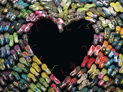 Boston Magazine uses marathon runners' sneakers shaped as a heart as a unique and sensitive way to tell the story of the victims from last month's bombing.  The symbolic photograph is accompanied by stories of participating runners and has received an overwhelming reception.