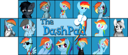 rainbowdashpad:  MEET THE DASHES! (From Left to Right, starting at the top) 1) Dead Rainbow Dash - http://deadrainbowdash.tumblr.com/ 2) Fractured Loyalty - http://fracturedloyalty.tumblr.com/ 3) Just Ask Rainbow Dash - http://just-ask-rainbow-dash.tumblr.com/ 4) Question Rainbow Dash - http://questionrainbowdash.tumblr.com/ 5) Mage Dash - http://askmagedash.tumblr.com/ 6) Rainbow Factory Dash - http://rainbowfactorydash.tumblr.com/ 7) Rainbow-less Dash - http://ask-rainbow-less-dash.tumblr.com/ 8) Rainbow Dash Replies - http://rainbowdashreplies.tumblr.com/ 9) Bandy Dash - http://bandydash.tumblr.com/ 10) Pirate Dash - http://askpiratedash.tumblr.com/ 11) Sketchy Dash - http://asksketchydash.tumblr.com/ 12) Dashicorn - http://askdashicorn.tumblr.com/ 13) Serious Rainbow Dash - http://askseriousrainbow.tumblr.com/ 14) Pervert Dashie - http://askpervertdashie.tumblr.com/ (NSFW)  lookit me up there my big face on the side of the marquee