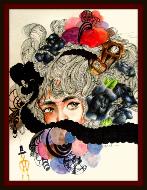 """In 1 Glance"" Drawing for a friend Colorpencils, Ink and Watercolor on Bristol by: AD.BESA"