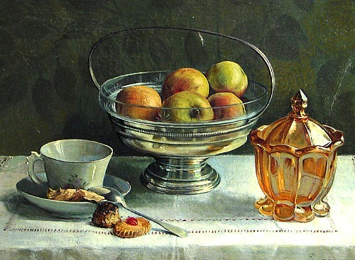 T. Slechta Still Life with Silver Bowl, Apples and Glass Jar 20th century
