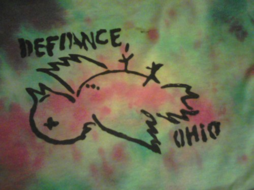 wolfenways:  Defiance, Ohio stencil on a tie-died shirt I made. They're coming here in July, can't wait!