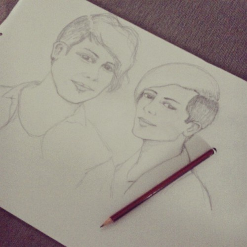Still on progress sketch #fanart, 9hours before #meetandgreet #teganandsara at #bigsoundfest #tegan and sara