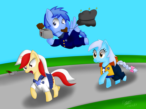 ask-leo-pony:  Icy: DARNIT! Flaria: WE ARE LATE! Leo: For the Bandwagon Tumblrpon High!!!