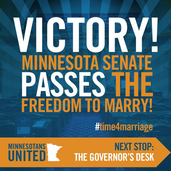 arctic-mcpenguin:  Congratulations to Minnesota for passing same-sex marriage in the House and Senate this week. Governor Dayton will sign the law later, and make same-sex marriages legal starting August 1st. Marriage equality for everybody!