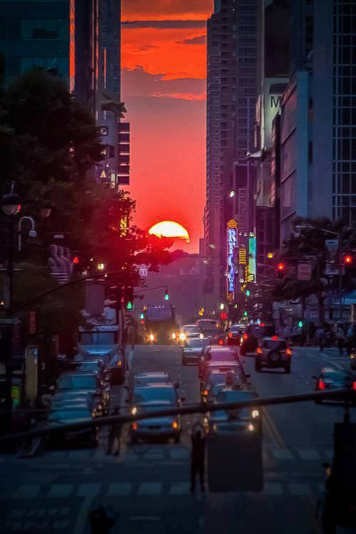 earth-song:  Sunset in Manhattan, NYC