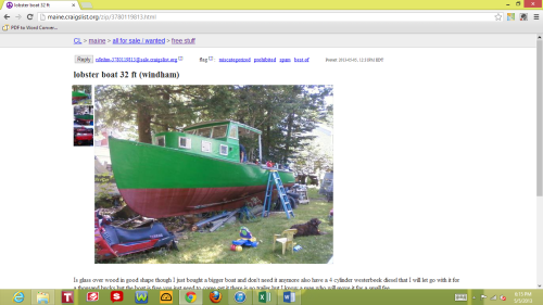 Only in Maine would someone have a lobster boat they just want to get rid of and put up on Free Stuff on Craig's List